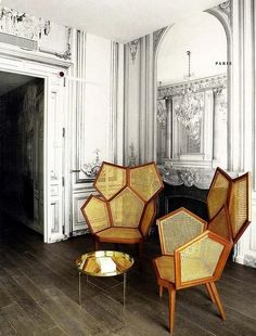 Hexagonal Chairs at the Hotel La Maison: interior design by Martin Margiela. Home Interior, Interior Architecture, Interior And Exterior, Interior Decorating, Modern Interior, Interior Styling, Interior Ideas, Interior Tropical, Cool Furniture