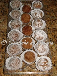 Mini Desserts, Dessert Recipes, Portuguese Recipes, Deserts, Cooking Recipes, Sweets, Cupcakes, Food And Drink, Cookies