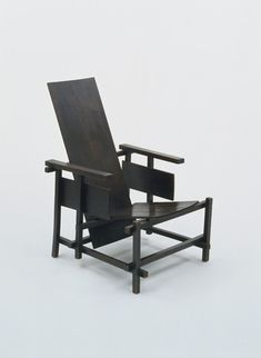 "Prototype for Red/Blue Chair  Gerrit Rietveld (Dutch, 1888-1964)    1917-18. Unpainted wood, 40 3/4 x 25 5/8 x 31 1/4"" (103.5 x 65.1 x 79.3 cm), seat h. 12 1/2"" (31.8 cm). Marshall Cogan Purchase Fund. © 2012 Artists Rights Society (ARS), New York / Beeldrecht, Amsterdam"