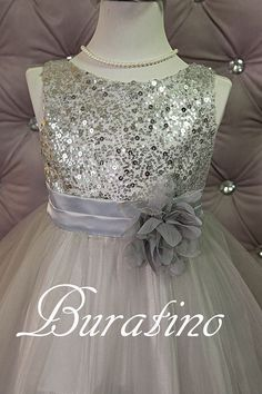Flower Girl Dress Silver/Grey Sequin Mesh by BURATINOBOUTIQUE