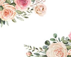 Watercolor Flowers Discover Elegant watercolor clipart with roses and eucalyptus greenery Flower bouquet compositions Wedding clipart ELN Elegant watercolor clipart with roses and eucalyptus greenery Frame Floral, Art Floral, Flower Frame, My Flower, Flower Art, Peach Bouquet, Eucalyptus, Clip Art, Floral Border