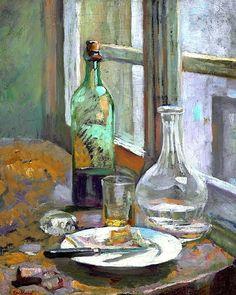 Nature Morte avec bouteuille et carafe, 1889-90 -Edouard Vuillard (French,1868-1940)