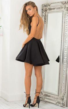 thumbnail - Black High Neckline Open Back Skater Dress
