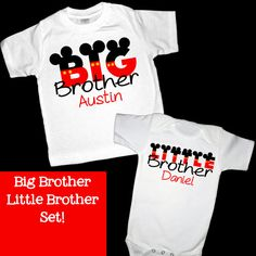 Personalized Red Mickey Mouse Letters Big Brother and Little Brother Set of Shirts or Bodysuits - Personalized with ANY Names