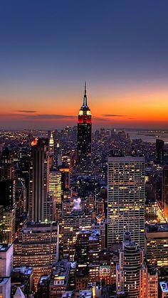 1080x1920 Wallpaper new york, night, skyscrapers, top view