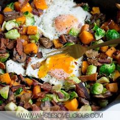 Cozy up with a cup of coffee or tea and treat yourself to a Whole30 Butternut Breakfast Hash So many nourishing ingredients like butternut squash, Brussels sprouts, mushrooms, and eggs. We get an extra dose of smoky and salty flavor by adding in crispy bacon!! Simple to make in less than 30 minutes, and exactly what you need to kickstart your morning. Paleo and Whole30 compliant! Whole30 Recipes, New Recipes, Real Food Recipes, Breakfast Hash, Fall Breakfast, Stuffed Mushrooms, Stuffed Peppers, Nice And Slow