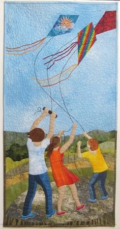 The Kite Challenge by Judith Panson. Exhibitions of the Fibre Art Network > On the Wind Go Fly A Kite, Kite Flying, Landscape Art Quilts, House Quilts, Arte Pop, Applique Quilts, Fabric Art, Textile Art, Art Lessons