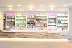 Organic pharmacy design using natural stone, wood and organic materials. A light fresh touch to give Salvia a healthy spirit.