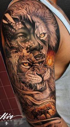 Lion Leg Tattoo, Lion Shoulder Tattoo, Tiger Head Tattoo, Lion Head Tattoos, Warrior Tattoo Sleeve, African Sleeve Tattoo, African Warrior Tattoos, Africa Tattoos, Best Leg Tattoos