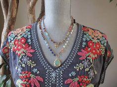 Colorful long crochet wrap necklace Bohemian by slashKnots