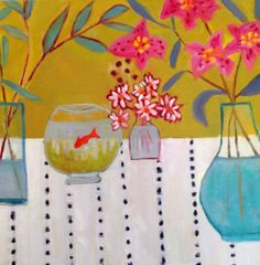 """Daily Painters Abstract Gallery: Contemporary Still Life Art Painting """"STARGAZERS"""" by Santa Fe Artist Annie O'Brien Gonzales"""