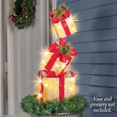 JedaJeda Christmas Lighted Staked Gift Box Presents Outdoor Stake Decoration Xmas Party Holiday >>> Click the image for added details. (This is an affiliate link). Christmas Garden Flag, Christmas Lanterns, Christmas Porch, Outdoor Christmas Decorations, Christmas Presents, Christmas Wreaths, Christmas Ornaments, Christmas Christmas, Holiday Crafts