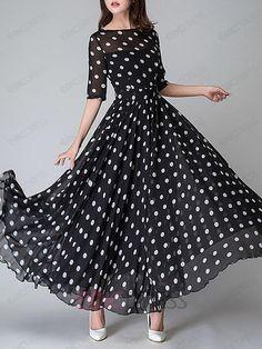 Ericdress Polka Dots Half Sleeve Round Neck Expansion Maxi Dress Maxi Dresses