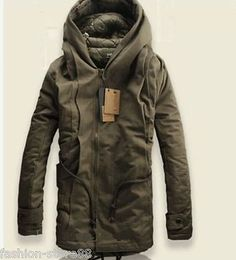 a7d368a2ce Details about NEW Winter Mens Military Trench Coat Ski Jacket Hooded Parka  Thick Cotton