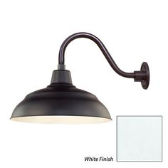 """R Series 1 Light Outdoor Wall Sconce with Dark Sky Compliant 17"""" Warehouse Shade and 14.5"""" Gooseneck Stem"""