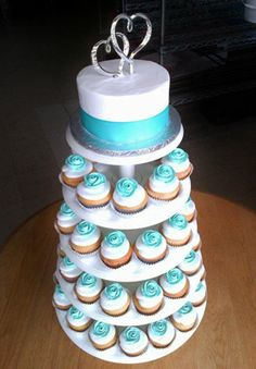 Polish Bakery & Hand-Crafted Cake Creations in Livonia, MI  - Seafoam blue cupcake tower