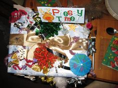 Gift box using bits of  everything top view