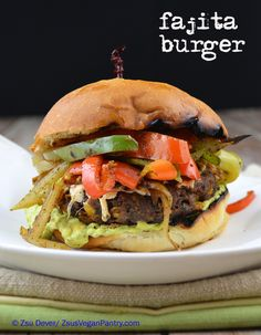 #Fajita #Burger with #Avocado #Sour #Cream. #Vegan burger with grilled #peppers and #onion. #vegetarian #meatless #veganmofo #beans #corn