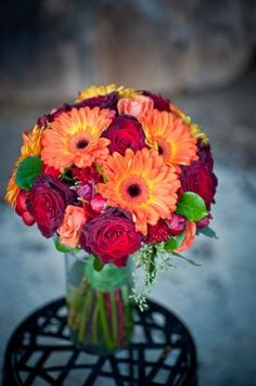 Fall Flowers with roses and gebera daisies, perfect colors to have in the house at this time of year