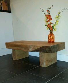 Coffee table oak sleeper rustic handmade