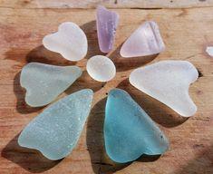 7 Scottish Sea Glass Hearts by SeaFindsScotland Rarest Purple Sea Glass Jewellery Supplies Craft Supplies