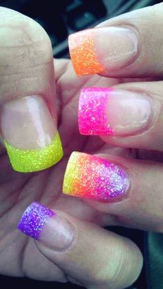 Bling Neon French Manicure Nails - only shorter (: