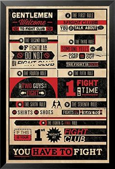 Fight Club Rules Movie 24x36 Wood Framed Poster Art Print Gentlemens ** Read more reviews of the product by visiting the link on the image.Note:It is affiliate link to Amazon. #commentback