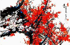 (North Korea) Red plum blossom, 2002 by Lee Hwa-sik ). Chinese Painting Flowers, Red Plum, North Korea, Good Times, Bloom, Plants, Trees, Beautiful, Tree Structure