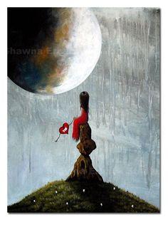 FANTASY ART PRINT Moon Girl Heart
