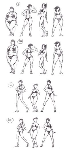 Today's practice is devoted to body variation. A plethora of well-written essays exist examining the lack of variety in body types in comics, especially concerning female characters. I have noticed that a great many artists tend to develop a personal ideal body type, and use this for all the women they draw.