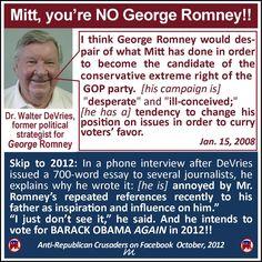 George Romney's former political strategist recommends we vote for Barack Obama, instead.