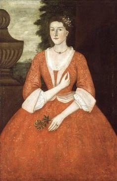 """American Dutch or German clothing - """"1739 Pieter Vanderlyn (American colonial era artist, 1687-1778). Catherine Ogden."""""""