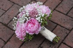 Baby's breath, peony and rose hand-tied bouquet www.buttercupflowers.co.uk
