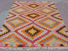 VINTAGE Turkish Area Rug Kilim Carpet Handwoven Rug by sofART, $659.00
