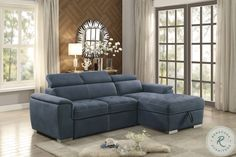 Ferriday Gray 2 Piece Sectional from Homelegance   Coleman Furniture Blue Sectional, Sectional Sleeper Sofa, Sofa Bed Dimensions, Sofa Bed With Chaise, Sofa Beds, Sofa Bed With Storage, Seat Storage, Fabric Storage, Pull Out Sofa