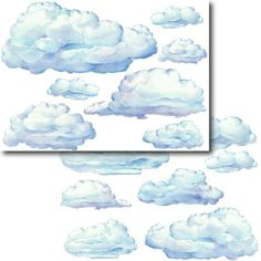 Instant Murals 14 Huge Clouds Peel and Stick Wall Stickers Mural