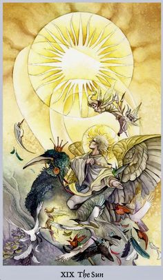 """Daily Angel Oracle Card: The Sun, from the Shadowscapes Tarot, by Stephanie Pui-Mun Law, artwork by Barbara Moore """"In a flare of liquid gold that pours across the sky, the sun rises. It is th…"""