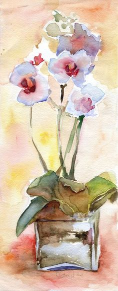 Orchid in glass vase by OlgaSternik on DeviantArt Watercolor Pictures, Watercolor Artists, Abstract Watercolor, Watercolor And Ink, Watercolour Painting, Watercolor Flowers, Painting & Drawing, Watercolors, Art Aquarelle