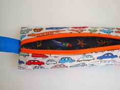 7eafde1645 Cotton small zipper -pencil case - pencil holder - teens - crochet hook  case - make up bag - handmade - gift - cars - boys