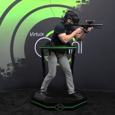 The Virtuix Omni, complete with the gun prop that even made an appearance on the show