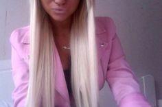platinum hair and pink jacket!