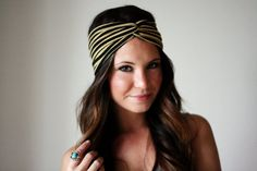 Gold and Black Stripe - Twisted Turban StyleHeadband $14