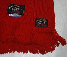 PAUL & SHARK PURE NEW WOOLMARK RED SCARF MADE IN ITALY