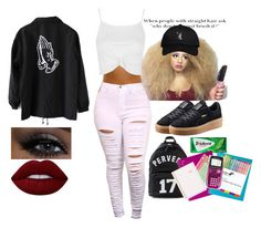 """new girl::first day"" by jaidadopeboii ❤ liked on Polyvore featuring Topshop, October's Very Own, Puma, Lime Crime, Givenchy, Yoobi and Sugar Paper"