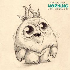 Morning Scribbles.  Cute monster doodles Chris Ryniak http://chrisryniak.com/