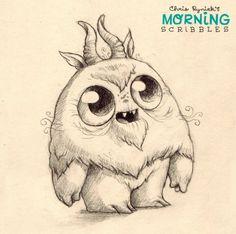 Morning Scribbles.  Cute monster doodles Chris Ryniak http://chrisryniak.com/