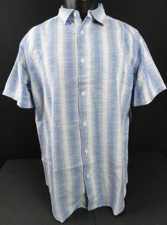 NWT Paradise Collection Mens L Woven Blue/Cream Shirt Stripe/Plaid SS Button Up…