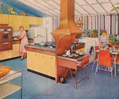 stunning MCM kitchen with indoor grill and copper vent hood