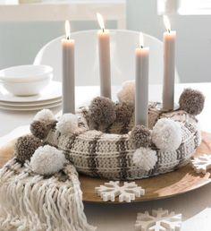 Creative Christmas decoration - DIY Advent wreath ideas %%page%% Christmas Advent Wreath, Noel Christmas, Christmas Crafts, Christmas Decorations, Holiday Decor, Advent Wreaths, Diy Knitting Scarf, Advent Candles, Navidad Diy
