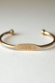 Handcrafted Mama Bear bracelet will make the most perfect gift for the mom in your life as a mother's day, birthday, or new mom gift. This bracelet looks great on it's own or stacked up and surrounded by multiples. Mom Jewelry, Jewelry Gifts, Jewelry Accessories, Parfait, Bangle Bracelets, Bangles, Mother Bears, Thing 1, Initial Bracelet